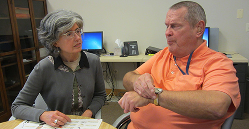 FP Social Work: resident works with the staff Certified Vision Rehabilitation Therapist (CVRT)